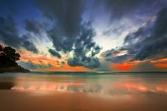 Stock Photo of tropical colorful sunset.