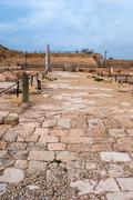 ruins of the ancient romanian harbor, caesarea, israel . - stock photo