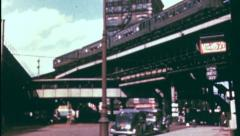 ELEVATED SUBWAY TRAIN Street Scene NYC 1940s (Vintage Film Home Movie) 3551 Stock Footage