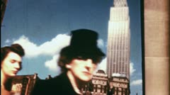 NYC CROWD Street Scene SKYSCRAPER Walk People 1940s Vintage Film Home Movie 3552 Stock Footage