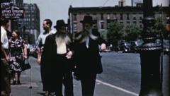 NYC People HASSIDIC JEWS Talk Pretzel Vendor 1940s Vintage Film Home Movie 3554 Stock Footage
