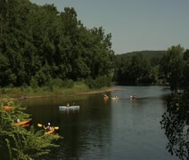 Large group of kayakers Stock Footage