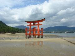 Famous Tori gate in Miyajima - stock photo