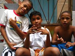 Brazilian kids at favela Rio de Janeiro Brazil Stock Photos