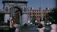 Boy Plays Fountain WASHINGTON SQUARE NYC 1940s Vintage Film Home Movie 3580 Stock Footage