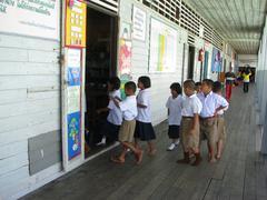 Kids enter classroom in school in Thailand Stock Photos