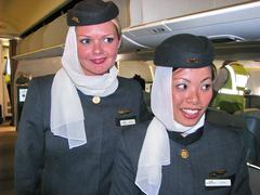 Stewardess of Etihad Airline Stock Photos
