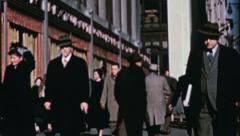 Men Walk on NYC STREET Businessmen Wall St 1940s 1950s Vintage Film Movie 3585 Stock Footage
