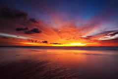 colorful sunset in the tropical sea. thailand - stock photo