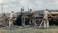 WORKERS Oil Well Crew Rig Drill 1960s (Vintage Industrial Film Home Movie) 3600 Stock Footage