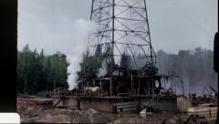OIL WELL DISASTER Drilling Rig 1960 (Vintage Home Movie Amateur 16mm Film) 3602 Stock Footage