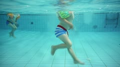 children at a swimming pool - stock footage