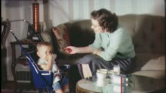 FEEDING TIME! Mother Feeds Infant Baby Food 1940s Vintage Film Home Movie 3626 Stock Footage
