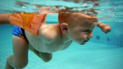 Children at a swimming pool Stock Footage