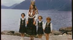 MOTHER DAUGHTERS Swedish Norwegian Lapland 1950s Vintage Film Home Movie 3632 Stock Footage