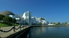 Cleveland Great lakes science center and stadium seen from 9th street pier Stock Footage