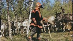 NOMADIC Herd Laplander Sami Lapland Norway 1950s Vintage Film Home Movie 3636 Stock Footage