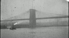 EAST River BROOKLYN BRIDGE NYC Manhattan 1930s Vintage Film Home Movie 3662 - stock footage