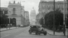 Stock Video Footage of HAVANA OLD CITY Capital Dome 1920s 1930s (Vintage Film Retro Home Movie) 3667