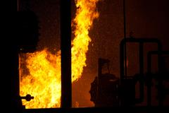 industrial fire - stock photo