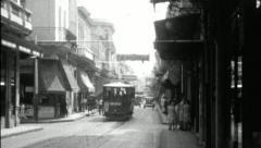 Streetcar HAVANA OLD CITY 1920s 1930s (Vintage Film Retro Home Movie) 3675 Stock Footage