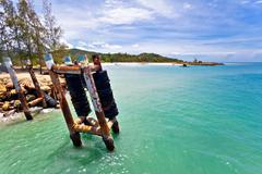 exotic tropical beach. - stock photo