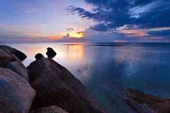 tropical colorful sunset. - stock photo