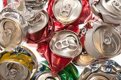 crushed aluminum cans - stock photo
