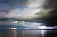 Lightning above the sea. thailand Stock Photos