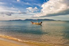 Boats in the tropical sea.  thailand Stock Photos