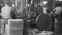 Stock Video Footage of Men ALASKAN SALMON Fish Cannery (Vintage Old Film Industrial Home Movie) 3688