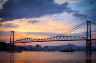 Bridge in florianopolis at sunset Stock Photos