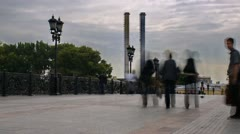 Tourists on Patriarshy Bridge, timelapse Stock Footage