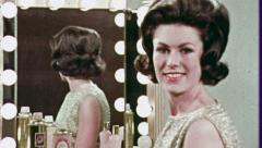 FASHION Model Looks in Mirror Retro FASHION 1960s Vintage Film Old Movie 3701 Stock Footage