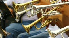 Young people playing trumpet in band 1 Stock Footage