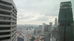 Singapore skyline of business district Stock Footage