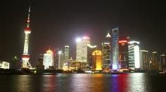 HD time lapse of modern buildings by Huangpu river at Pudong skyline Shanghai Stock Footage