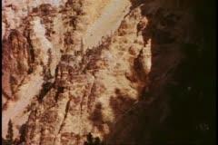 Grand Canyon of the Yellowstone, yellow limestone walls, medium close up Stock Footage