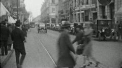 Busy STREET SCENE Latin American Spanish City 1920s Vintage Film Home Movie 3719 - stock footage