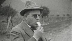 MAN EATS BANANA Forwards Backwards Loop 1930s Vintage 8mm Film Home Movie 3720 Stock Footage