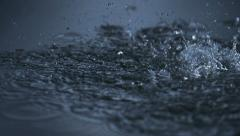 Rain in puddle, Slow Motion Stock Footage