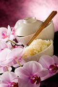 asian rice dish with orchid flowers - stock photo