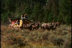 Stagecoach ride, coach, team of  horses, Yellowstone National Park - stock footage