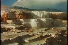 Mammoth Hot Springs, medium shot, Yellowstone National Park Stock Footage