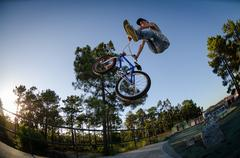 bmx bike stunt can-can - stock photo