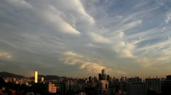 Timelapse of Seoul city and clouds at beautiful sunset Stock Footage