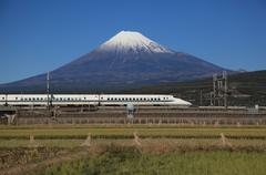 Mount Fuji and Bullet Train - stock photo