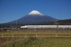 Mount Fuji and Bullet Train Stock Photos
