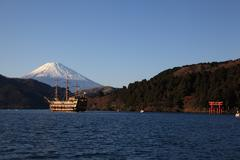 Lake Ashinoko and Mount Fuji - stock photo