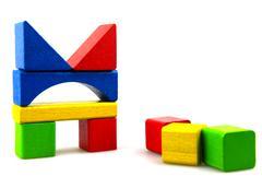 wooden building blocks - stock photo